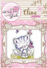 Kitty Cat Butterfly Cling Unmounted Rubber Stamp Wild Rose Studio CS332 New