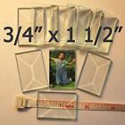 "3/4 x 1-1/2 Clear Glass Bevel (Box of 30 Bevels) Flat on Back Beveled .75 x 1.5"""