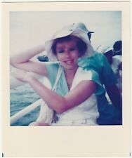 Original Vintage 80s Polaroid COPY PHOTO Young Redhead Woman On Boat