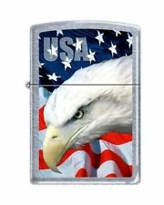 Zippo 3021 usa flag and eagle street chrome finish Lighter