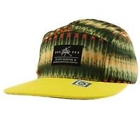 Men's Summer Cotton Digital Hues 5 Panel Snapback Cadet Cycle Cap Hat Yellow