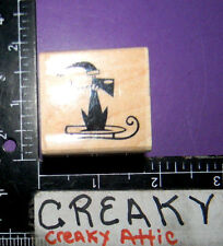DOG ON SLED POOCHIE RUBBER STAMP THE CATS PAJAMAS D-6336