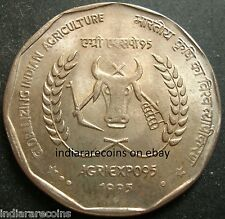 India 1995 Agriexpo Cow Farming Wreath Agriculture UNC New 2 Rs RARE
