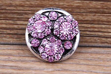 Pink Rhinestone Drill flower Charm Chunk Snap Button fit for Noosa Bracelet EE92