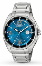 Mens Citizen Eco-Drive Stainless Steel Blue Dial Date Casual Watch AW1510-54L
