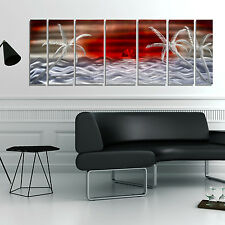 Tropical Modern Metal Wall Art Red Painting Decor - Tahitian Sunset by Jon Allen