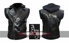 AJ Styles WWE Crocodile Faux Leather Vest with Hoodie High Quality