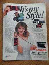 1983 Canon Snappy 50/20 35mm camera Ad