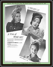 Cancer Crochet Pattern VTG 1942 3 TURBAN Hat WIND-UPS The Spool Cotton Company