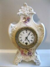 "VINTAGE ANSONIA PORCELAIN CLOCK 4 1/2 CLOCK MOVEMENT 13"" TALL NEEDS SERVICED"