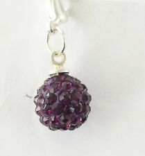 SPARKLY SHAMBALLA DARK PURPLE CRYSTAL 10mm BALL CLIP ON CHARM FOR BRACELETS -S/P