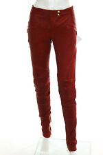 Balmain Red Leather Gold Tone Zipper Textured Skinny Pants Size IT 40 New 110341