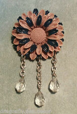 Vintage Brooch/Pin - Tan/Navy Plastic Flower chain drop crystals U50