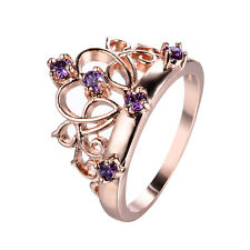 10KT Rose Gold Filled Round Cut Purple Amethyst Wedding Princess Crown Band Ring