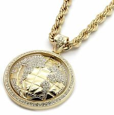 "Mens Gold Iced Out The World Earth Pendant Hip-Hop 30"" Inch Rope Necklace Chain"