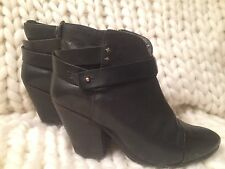 $595 Rag & Bone Harrow Black Leather Ankle Boot Womens Size 38 7 7.5 COMFY