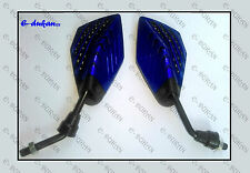 Universal Rear View Mirror Set For All Bikes And Scooters - BLUE BLACK- A01