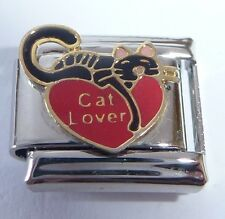 CAT LOVER Italian Charm Red Heart I Love Cats 9mm fits Classic Starter Bracelets