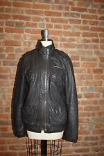 SUPERDRY  Women's Leather Bomber Jacket Brown Size M
