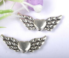 50PCS Tibetan Silver Heart Angel Wing Beads 22X9mm SH57
