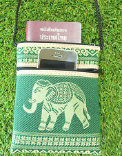 ELEPHANT PURSE WALLET FABRIC COIN CELL PHONE PASSPORT TRAVEL CROSSBODY BAG THAI5
