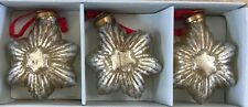 "Large Silver MERCURY Glass Stars Christmas Ornaments Vintage 4"" Set 3"