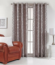 "Lafayette 56"" X 84"" Faux Silk Metallic Print Grommet Panel Silver Color"