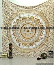 Large Golden Brown Floral Trippy Ombre Medallion Mandala Wall Tapestry
