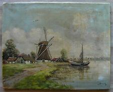 huile sur toile école hollandaise du XXème signé V. Beek paysage au moulin