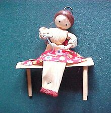 Vintage Miniature Corn Husk Doll Sitting on Bench Sewing Christmas Ornament