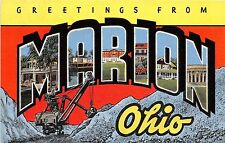 Ohio Postcard Linen MARION Steam Shovel Mining Mine LARGE LETTER GREETING