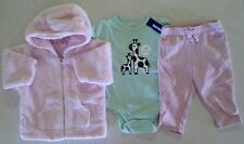 Girl's Sz 3-6 M Month 3 Pc Outfit Pink Baby Gap Jacket, Pants & NWT Old Navy Top