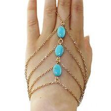 Armband Ringe Sklavenarmband Sklave Handschmuck Kettchen Vintage Hippie Gold