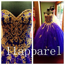 Purple Gold Applique Beading Quinceanera Dresses Ball Gown Long Woman Prom dress