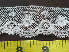 Antique White Cotton French Valenciennes Lace Trim Ruffle Flounce Victorian / Ed