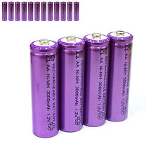 12 pcs AA LR06 3000mAh 1.2V NI-MH rechargeable battery CELL/RC MP3 SILVER PURPLE
