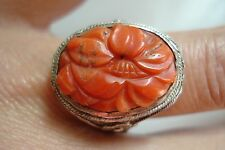 Antique Deco 1930's Chinese 999 Pure Silver Carved Red Coral Ring~Sz9~~Free Ship