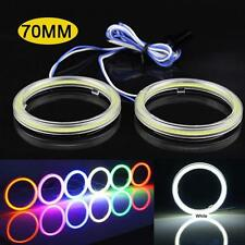 2 Pcs White 70MM Angel Eyes 60 LED COB Chip SMD Car Headlight Halo Ring Light