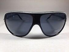 $30 New Authentic Express Shield Aviator Sunglasses Black White Metal Accent