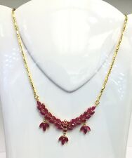 14k Solid Yellow Gold Flower Cluster Pendant Necklace/ Chain, Natural Ruby8.8TCW