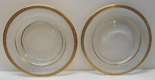 Glass Plates with Gold Trim Frosted Rim with Pegasus and Flowers Vintage set 2