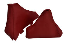 DARK RED LEATHER FITS BMW E90 E91 E92 E93 MANUAL GEAR HANDBRAKE GAITER