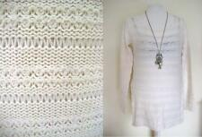 Ladies Vintage Cable Knit Jumper Dress Size Medium Cream Tunic Top Blouse Winter