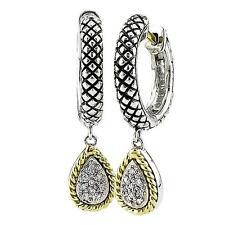 Andrea Candela 18k Gold & Silver Diamond Pear Drop Huggie Earrings ACE57/06