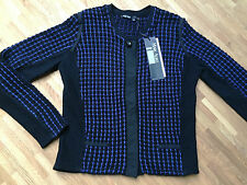 Original MARC AUREL M 38 Strickjacke NEU blau schwarz Wolle Luxus Boucle Strick