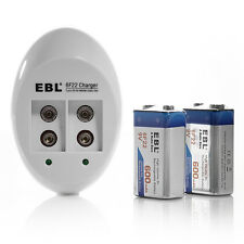 EBL 6F22 9V 600mAh Li-ion Rechargeable Battery (2 Pack) + Charger