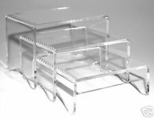 SET OF 3  CLEAR ACRYLIC DISPLAY STANDS RISERS  100mm