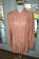 TALBOTS ORANGE LINEN SILK EMBROIDERED LONG TUNIC BLOUSE TOP 12 NEW WITHOUT TAG