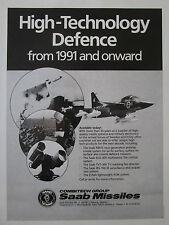 4/1989 PUB SAAB SCANIA DEFENCE MISSILE SAAB RBS 15 EOS-400 IRS-700 ORIGINAL AD