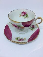 Pink Roses Bone China Teacup & Saucer Gold Trim Hand Painted